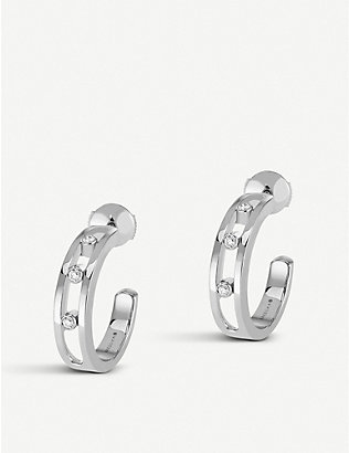 MESSIKA: Move 18ct white-gold and diamond hoop earrings