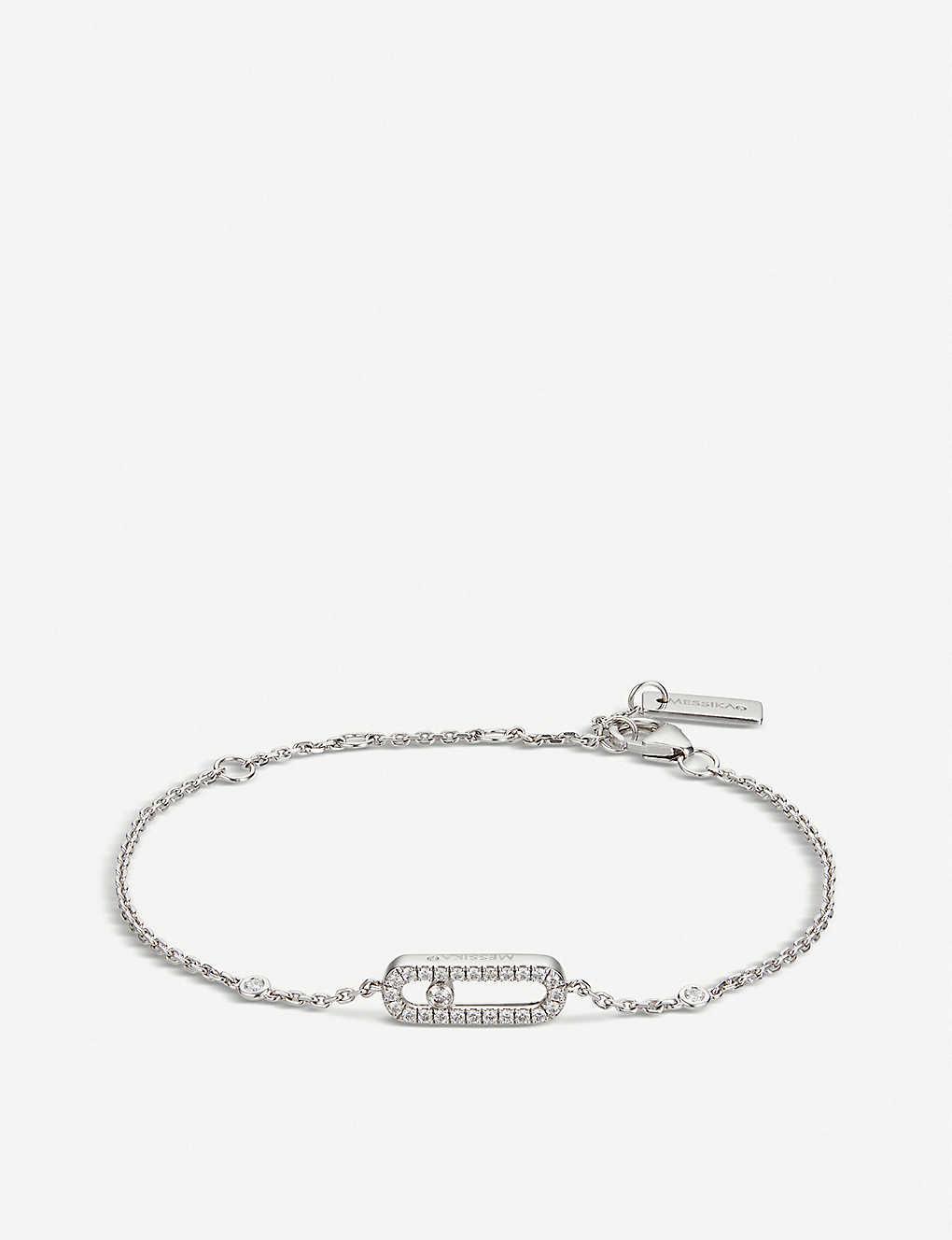 3741e46cff1 ... Move Uno 18ct white-gold and pavé diamond bracelet - White ...