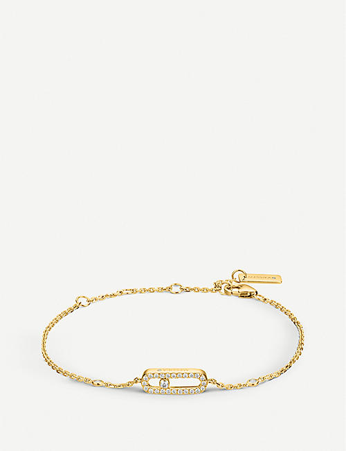 MESSIKA: Move Uno 18ct yellow-gold and pavé diamond bracelet