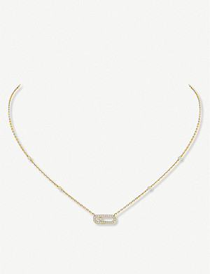 MESSIKA Move Uno 18ct yellow-gold and pavé diamond necklace