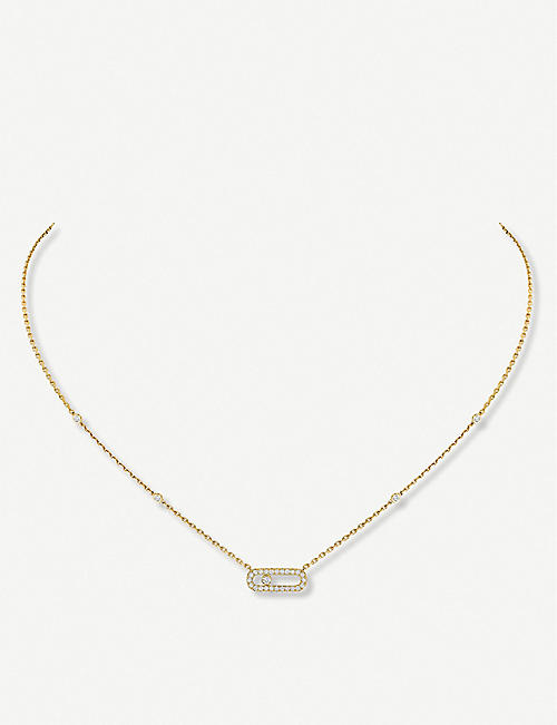 MESSIKA: Move Uno 18ct yellow-gold and pavé diamond necklace