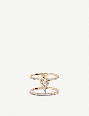 MESSIKA Glam'Azone 2 Rows 18ct pink-gold and pav? diamond ring