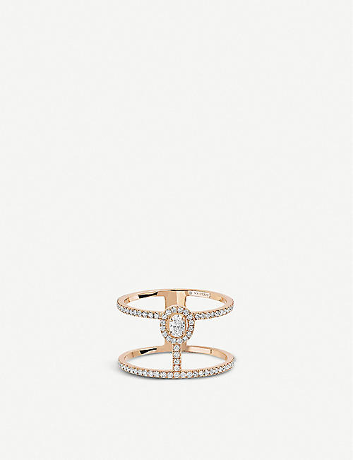 MESSIKA Glam'Azone 2 Rows 18ct pink-gold and pavé diamond ring