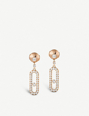 MESSIKA Move Uno 18ct pink-gold and diamond earrings