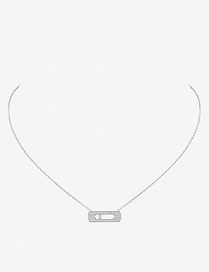 MESSIKA Move Uno 18ct white-gold and pavé diamond necklace