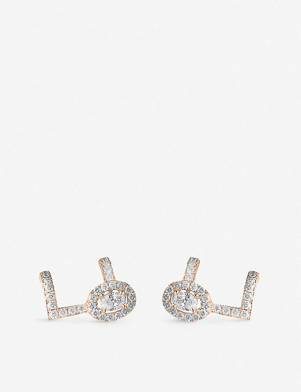 f5616a68a MESSIKA - Glam Azone 18ct pink-gold and pavé diamond earrings ...