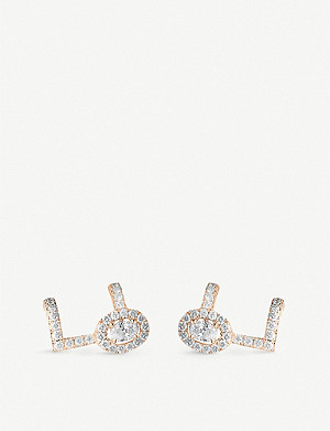 MESSIKA Glam'Azone 18ct pink-gold and pavé diamond earrings