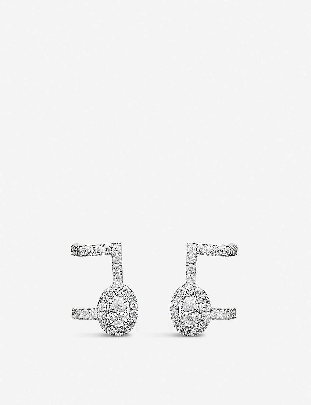MESSIKA: Glam'Azone 18ct white-gold and pavé diamond earrings