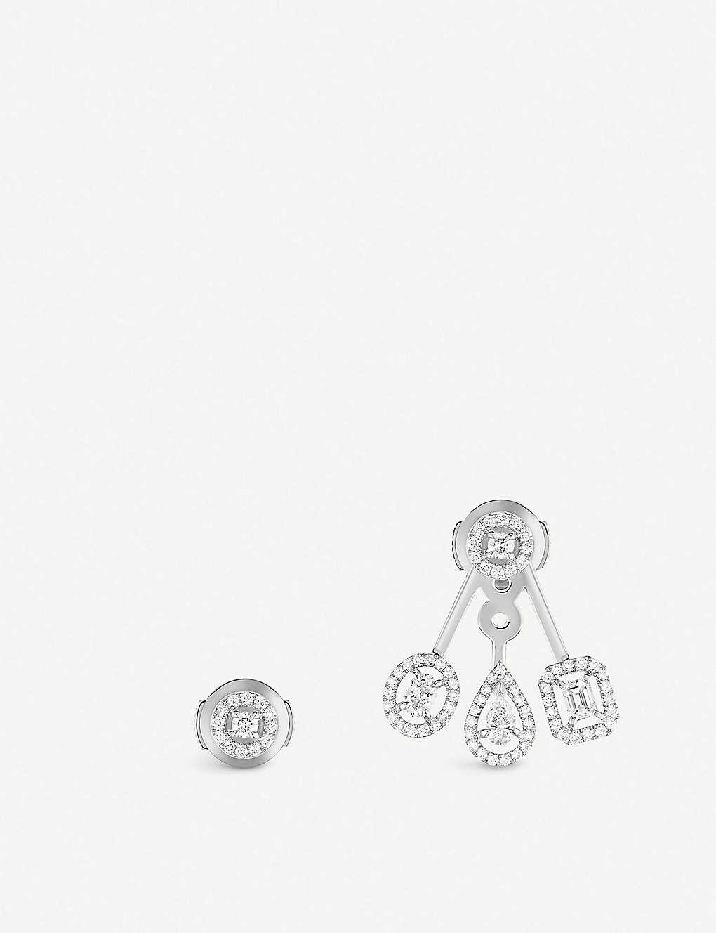 MESSIKA: My Twin Trio 18ct white-gold and diamond earrings