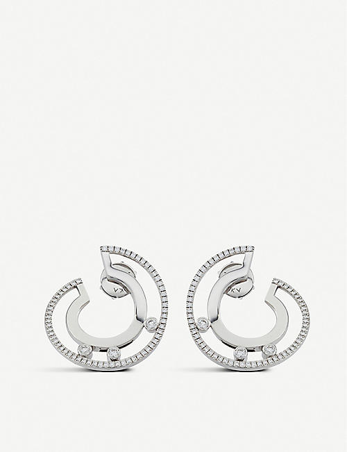 MESSIKA Move Romane 18ct white-gold and diamond earrings