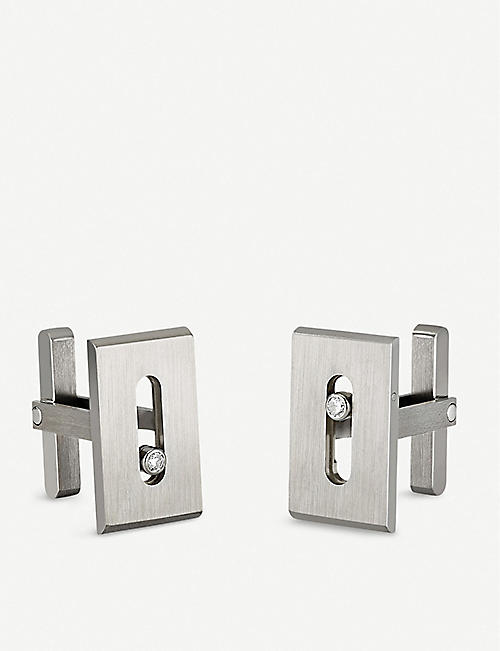 MESSIKA: Move Titanium and white diamond cufflinks