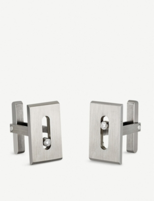 MESSIKA Move Titanium and white diamond cufflinks