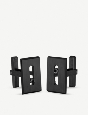 MESSIKA Move Titanium black diamond and titanium cufflinks