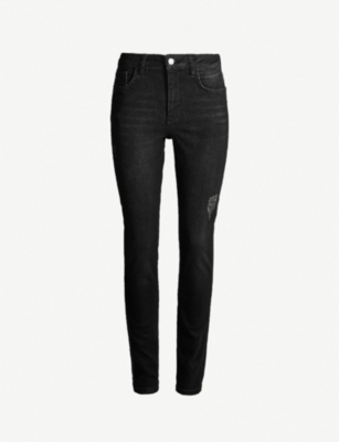 ME AND EM Side-stripe skinny high-rise jeans