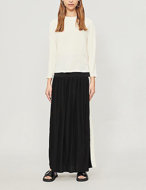 ME AND EM Roll-top pleated stretch jersey skirt