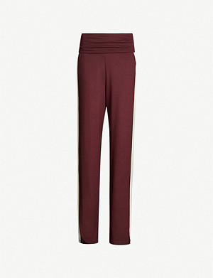 ME AND EM Side-stripe high-rise stretch-jersey wide-leg trousers