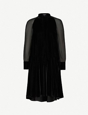 ME AND EM Sheer-sleeves velvet midi dress