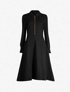ME AND EM Zip-neck puff-sleeve stretch-jersey midi dress