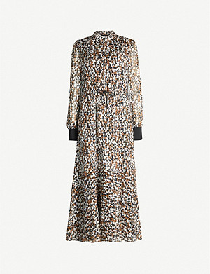 ME AND EM Abstract animal-print high-neck crepe dress