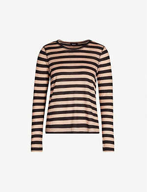 ME AND EM Striped woven jersey top