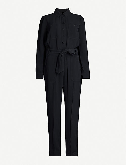 ME AND EM Belted tapered-leg woven jumpsuit