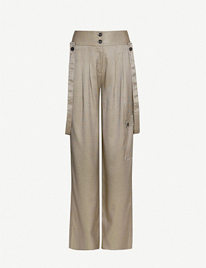 ME AND EM Braces-trim wide-leg woven trousers