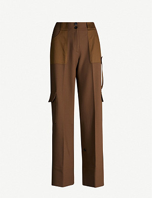 ME AND EM High-rise satin wide-leg cargo trousers