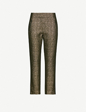 ME AND EM Slim-fit mid-rise metallic trousers