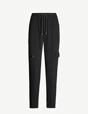 ME AND EM Patch-pocket high-rise twill jogging bottoms