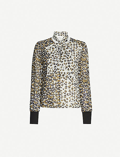 ME AND EM Abstract animal-print chiffon blouse