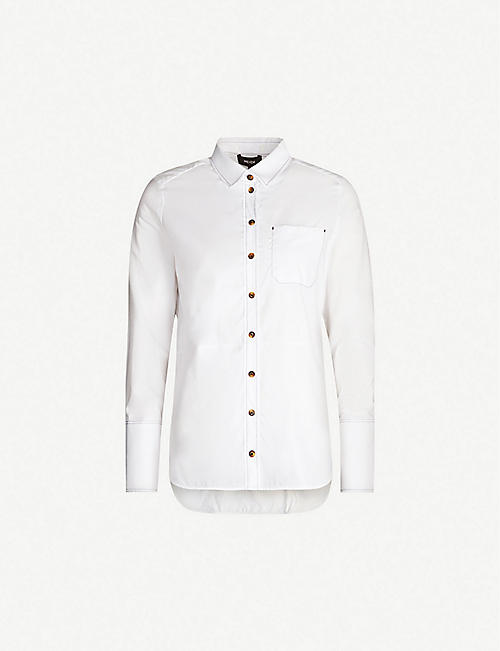 ME AND EM Contrast stitch semi-sheer cotton shirt