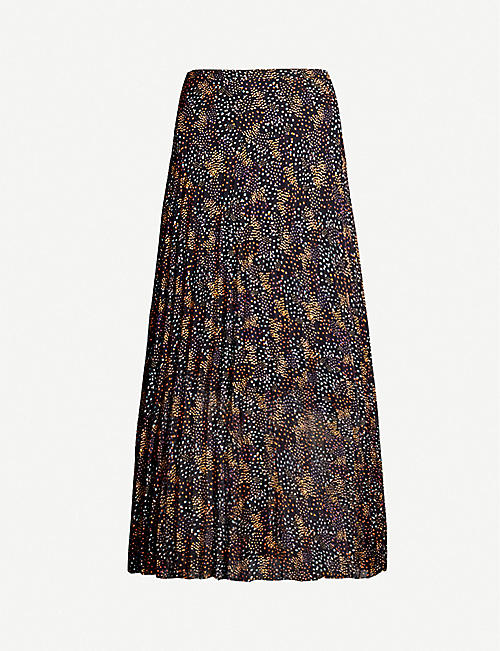 ME AND EM Dot print pleated maxi skirt