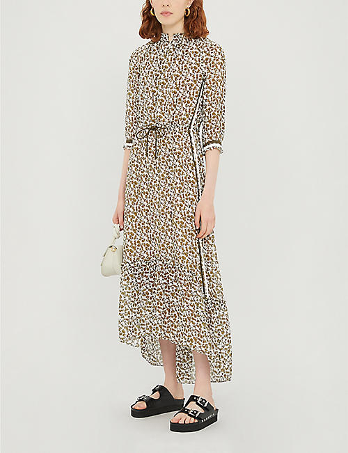 ME AND EM Grosgrain-trim floral chiffon dress