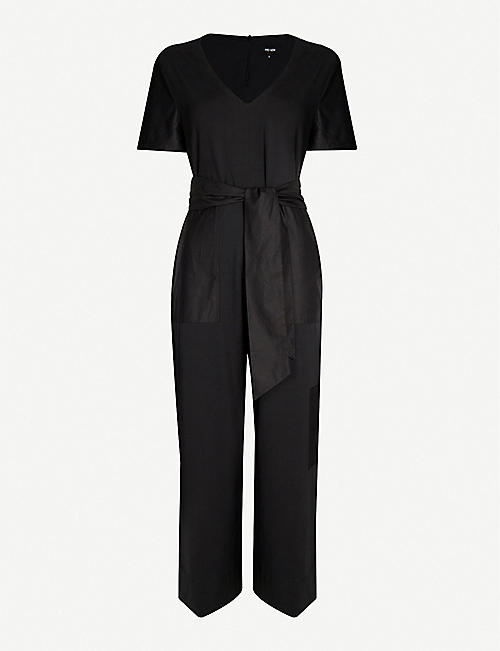 ME AND EM Wide-leg stretch cotton jumpsuit