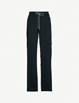 ME AND EM Contrast-drawstring high-rise wide-leg crepe trousers