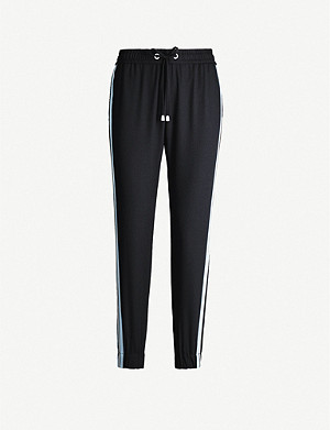 ME AND EM Side-stripe tapered mid-rise crepe jogging bottoms