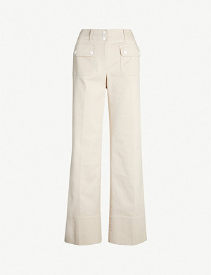 ME AND EM Transformer contrast-button wide stretch-cotton trousers