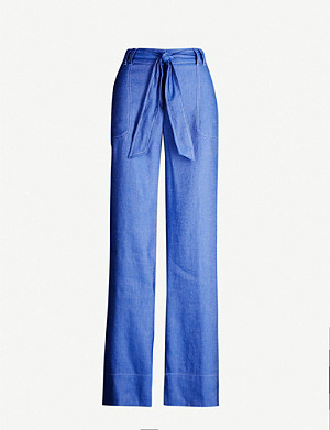 ME AND EM Belted high-rise chambray trousers