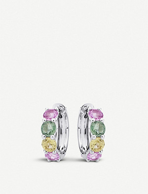 BUCHERER FINE JEWELLERY 18ct white-gold and sapphire earrings