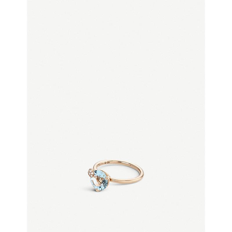 BUCHERER   Peekaboo 18ct Rose-Gold, Aqua Stone And Diamond Ring   Goxip