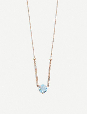 BUCHERER FINE JEWELLERY Peekaboo 18ct rose-gold, aqua stone and diamond necklace