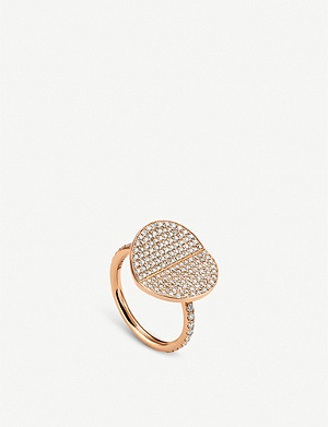 BUCHERER FINE JEWELLERY B Dimension large 18ct rose-gold and diamond ring