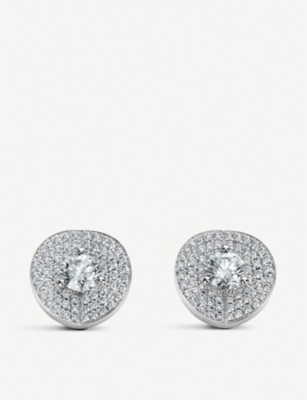 BUCHERER FINE JEWELLERY B Dimension 18ct white-gold and diamond stud earrings