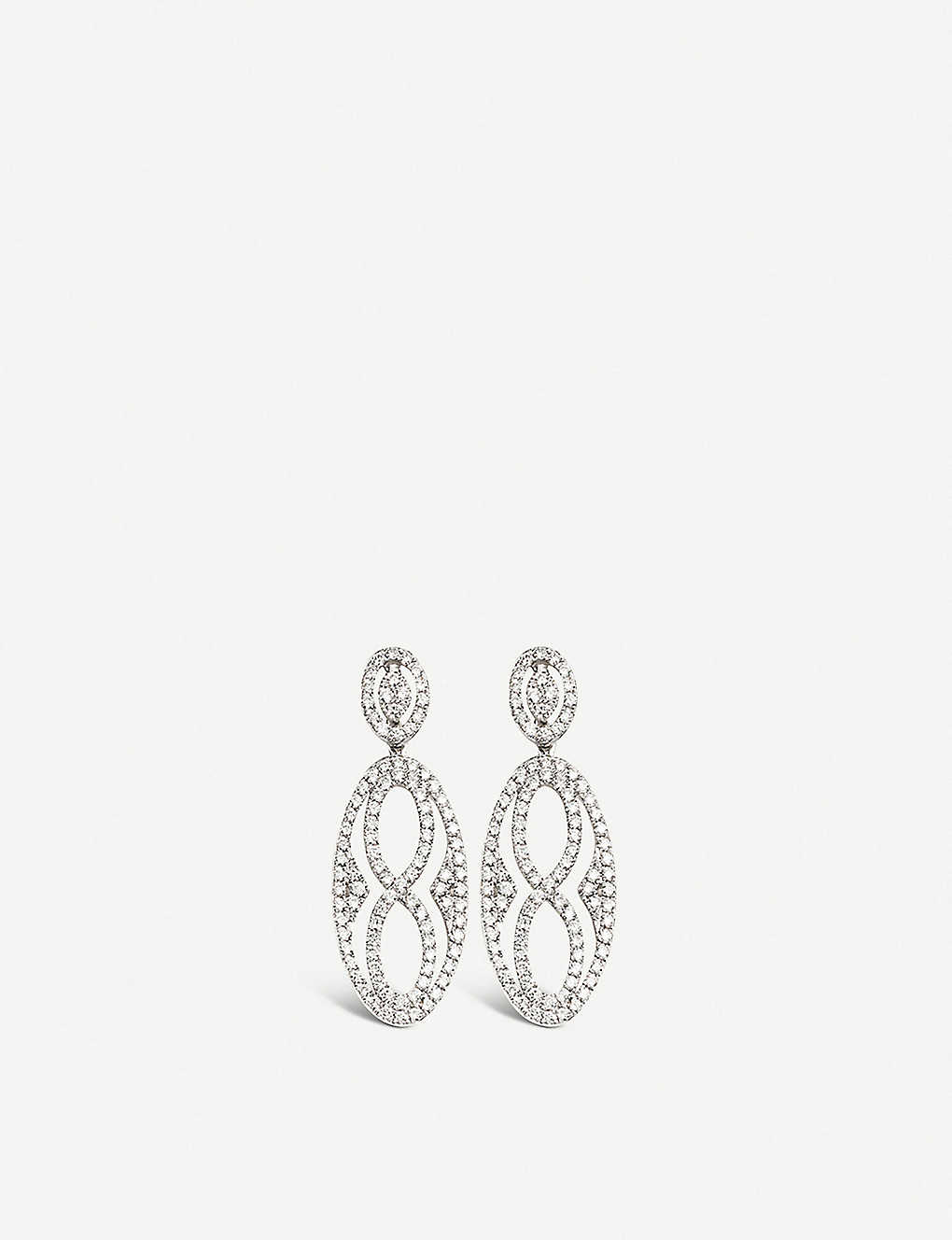 BUCHERER FINE JEWELLERY: Vivelle 18ct white-gold and diamond earrings