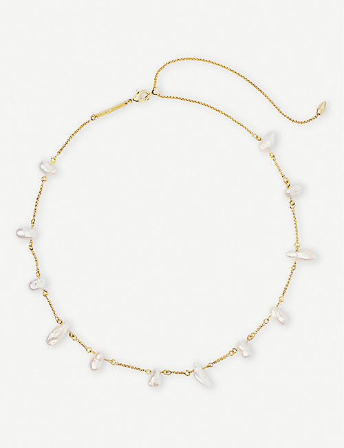 KENDRA SCOTT Krissa gold-plated and pearl choker necklace
