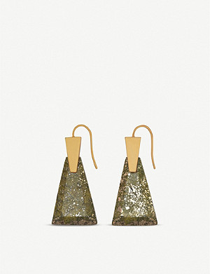 KENDRA SCOTT Collins vintage gold and olive Epidote drop earrings