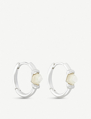 KENDRA SCOTT Ellms mother of pearl and silver-plated hoop earrings