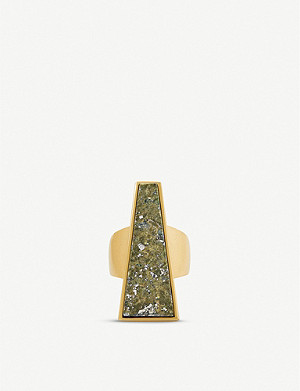 KENDRA SCOTT Collins Cocktail 14ct vintage gold-plated and epidote ring