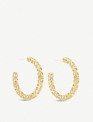 KENDRA SCOTT Maggie filigree 14ct gold-plated hoop earrings