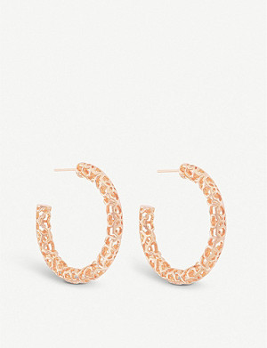 KENDRA SCOTT Maggie filigree 14ct rose gold-plated hoop earrings